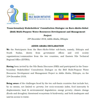 ADDIS ABABA DECLARATION; Trans-boundary Stakeholders' Consultation Dialogue on Baro-Akobo-Sobat (BAS) Multi-Purpose Water Resources Development and Management