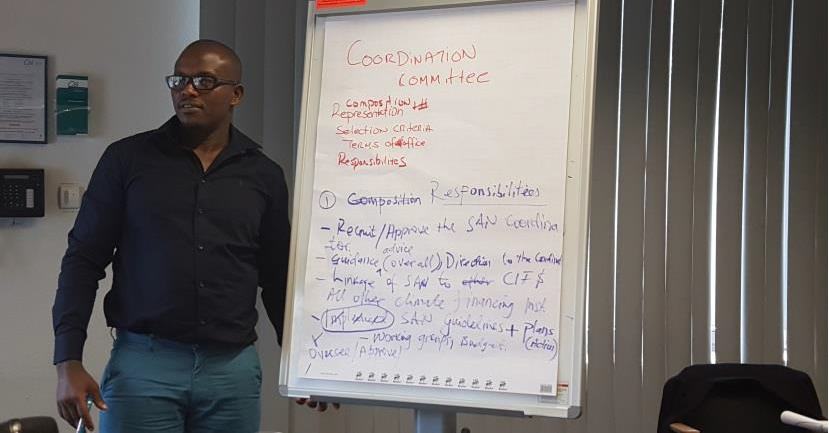 Mr. Gakumba John, coordinator NDF Rwanda; at the World Bank's Stakeholders Advisory Network Meeting - Bonn, Germany 2017