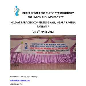 Report for the 4th Stakeholders' Forum on Rusumo Project – Tanzania